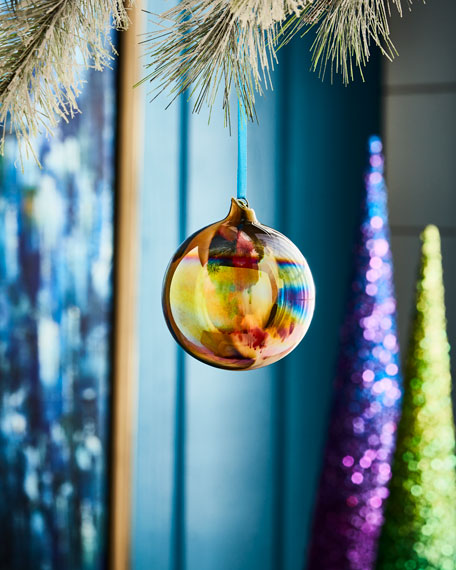 Playful Brights Collection Marble Ball Ornament, Pink/Multi