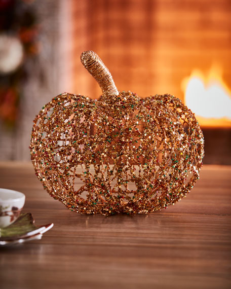 "Beaded Twine Pumpkin, 12"""