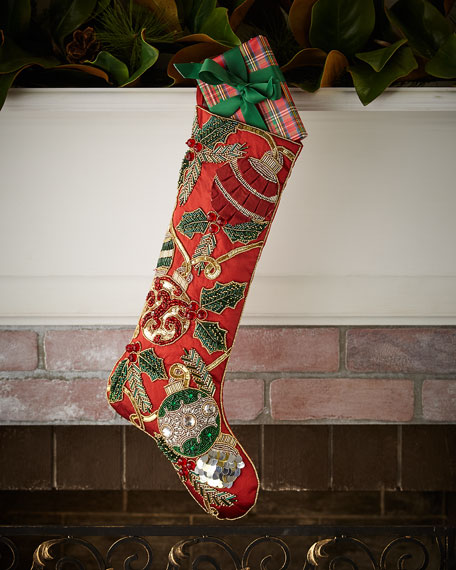 Red & Green Collection Holiday Tidings Stocking