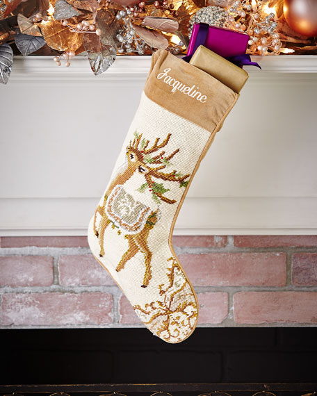 Reindeer Needlepoint Stocking