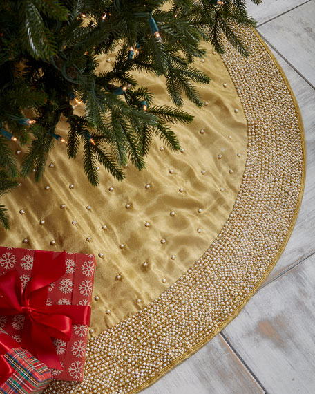 Gold & Glitter Collection Embroidered Organza Tree Skirt, 60""