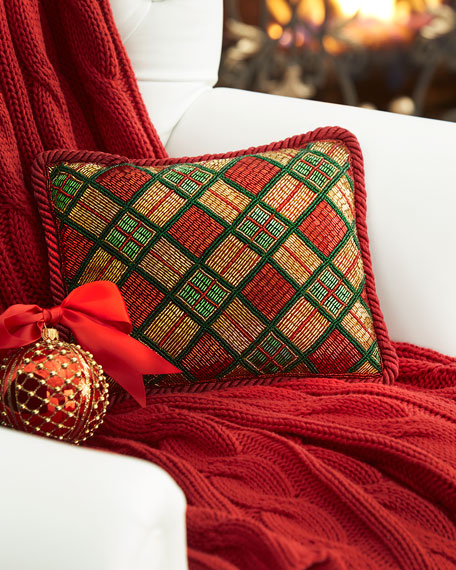 Beaded Plaid Christmas Pillow