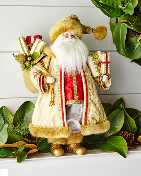 18 RESIN SANTA WITH GOLD COA