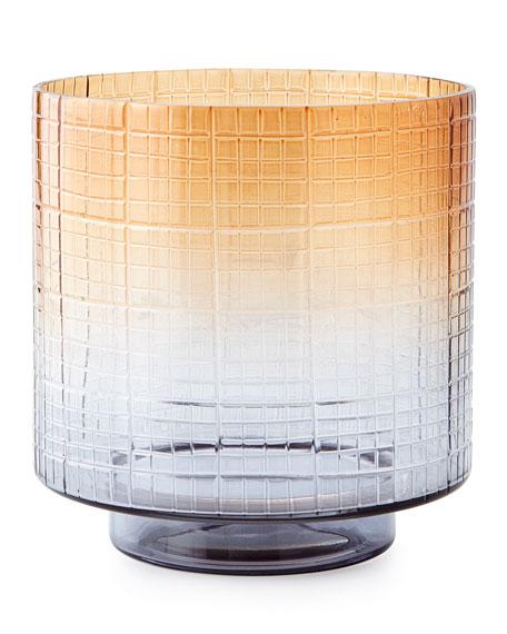 Small Cut Glass Ombre Hurricane Vase