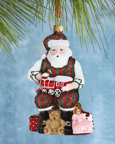 Santa Working His Magic Glittered Ornament