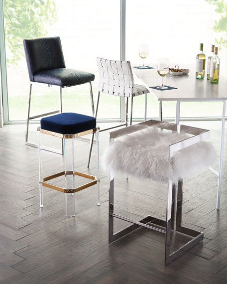 Kennedy Woven Leather Bar Stool, White