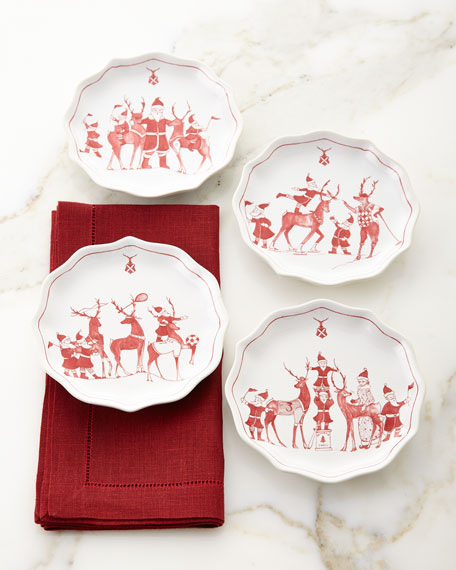 Country Estate Reindeer Games Tidbit Plates, Set of