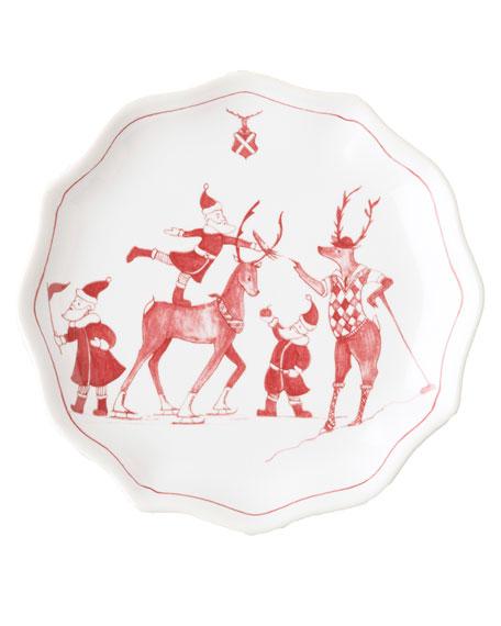 Country Estate Reindeer Games Tidbit Plates, Set of 4