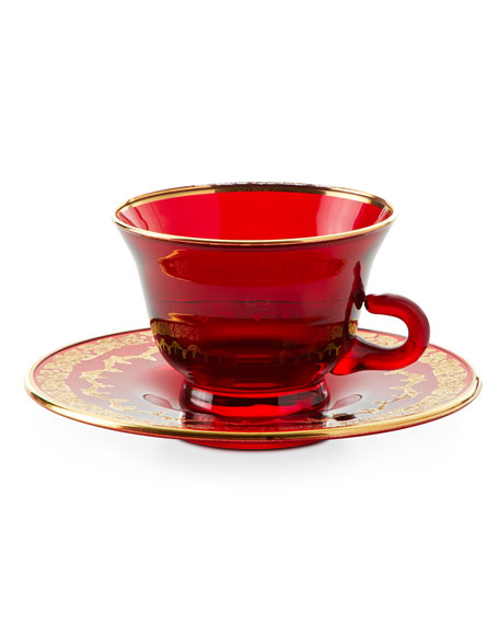Red Oro Bello Tea Cup and Saucer, Set of 4