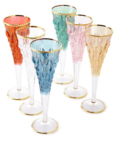 Faceted Champagne Flutes  Set of 6