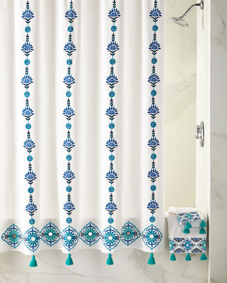 Aloka Blue Shower Curtain
