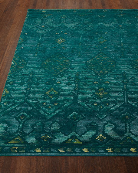 "Gem Hand-Tufted Rug, Teal, 9'3"" x 13'"