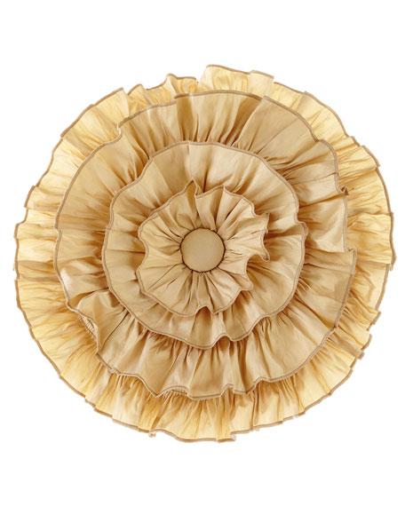 Coronado Silk Ruffled Round Pillow