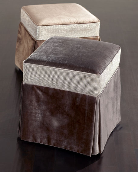 Glam Pouf in Bark, 22""