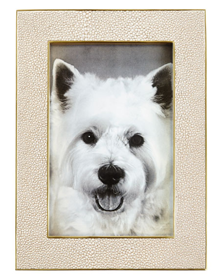 """Classic Faux-Shagreen 4"""" x 6"""" Picture Frame, Wheat"""