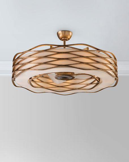 Ribbons of Gold 12-Light Pendant with Fan