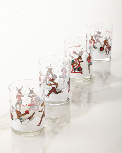 Merry Fitness Moose Glass Double Old-Fashioned Glasses  Set of 4