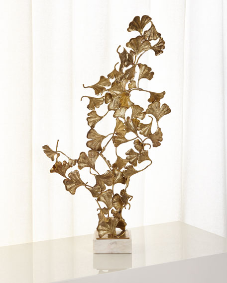 Ginkgo Leaves on White Marble