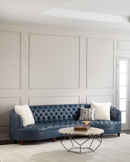 """Magnolia Tufted Leather Sofa 126"""""""