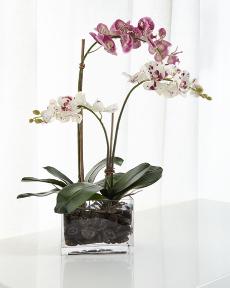 White and Purple Orchid Faux-Floral Arrangement