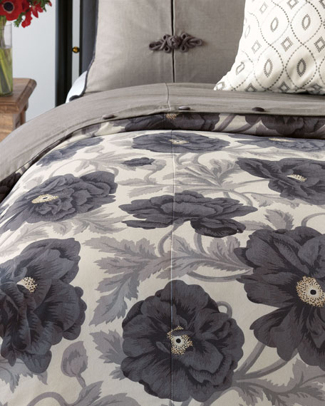 Midnight Poppy Oversized Queen Duvet