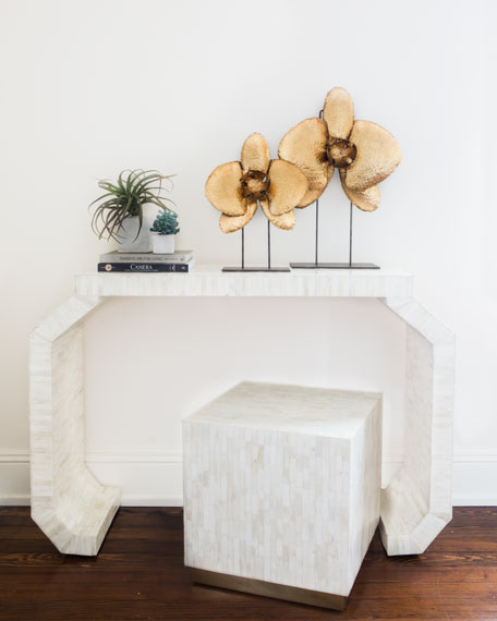 Babette Bone Inlay Cube Stool