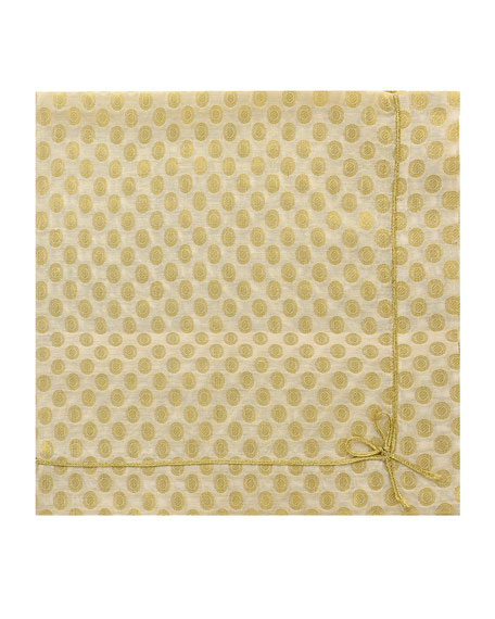 Cute as Bow Floral Napkin, Gold/White