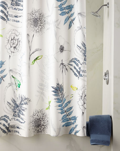 Acanthus Indigo Shower Curtain