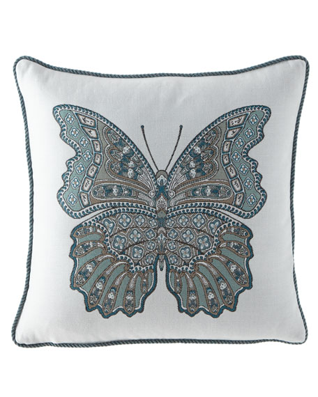 "Mariposa Lagoon Pillow, 20""Sq."