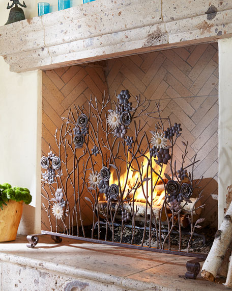 Iron Single-Panel Fireplace Screen