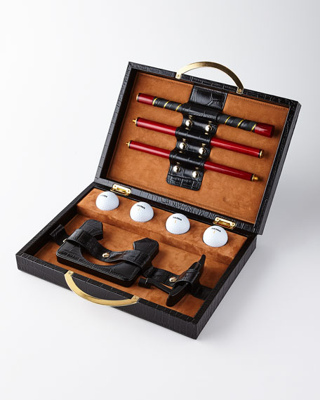 Renzo Romagnoli Travel Golf Set with Croc-Embossed Carry