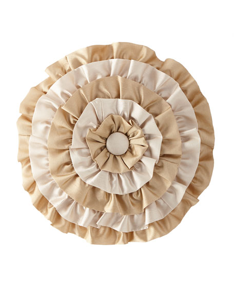 Austin Horn Collection Valencia Ruffled Round Pillow