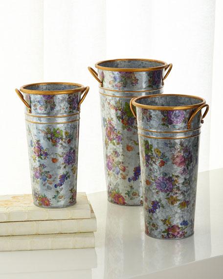 MacKenzie-Childs Flower Market Flower Buckets, Set of 3