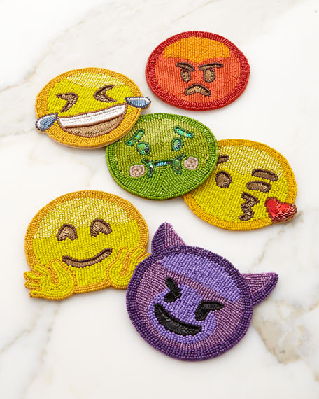 Kim Seybert Emoji Coasters 2.0, Set of 6
