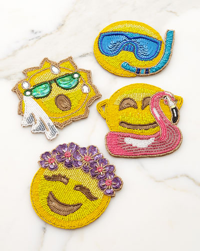 Summer Emoji Coasters  Set of 4