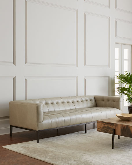 Dusty Stone Tufted Leather Sofa 96