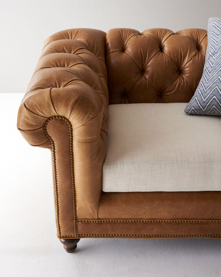Clayton Tufted Leather Sofa 94