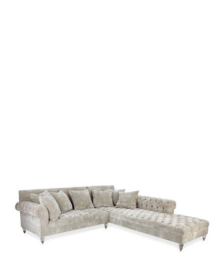 Divine Crushed Velvet Left-Chaise Sectional