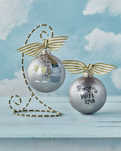 Happy Anniversary Glass Ornament with Stand