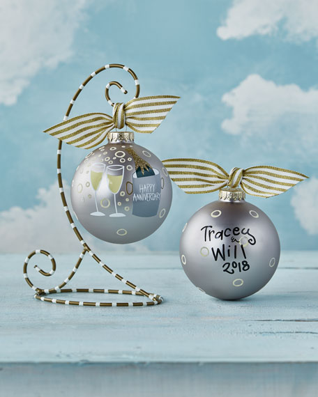 Coton Colors Happy Anniversary Glass Ornament with Stand