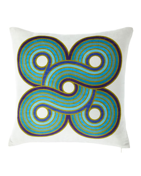 Milano Concentric Loops Pillow, Turquoise