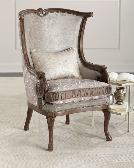 Lia Damask Wing Chair