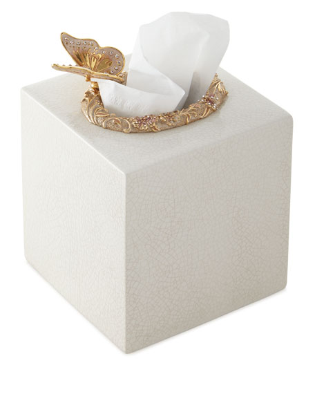 Jay Strongwater Boudoir Crackle Glaze Tissue Holder