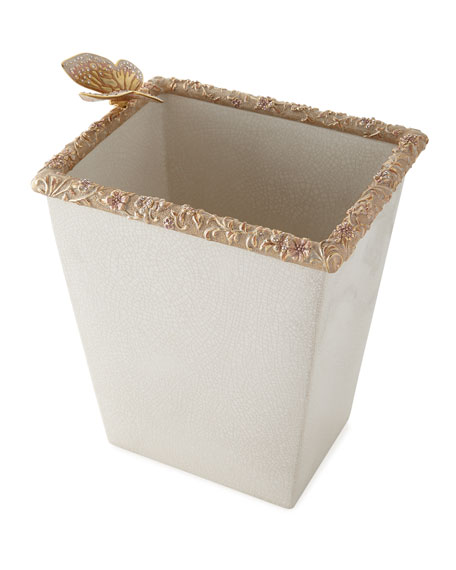 Jay Strongwater Boudoir White Crackle Glaze Wastebasket