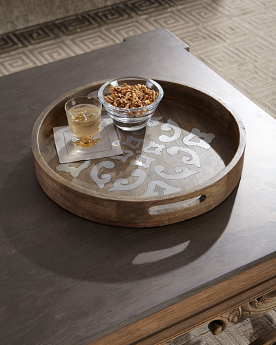 Round Wood Tray w/ Metal Inlay  20