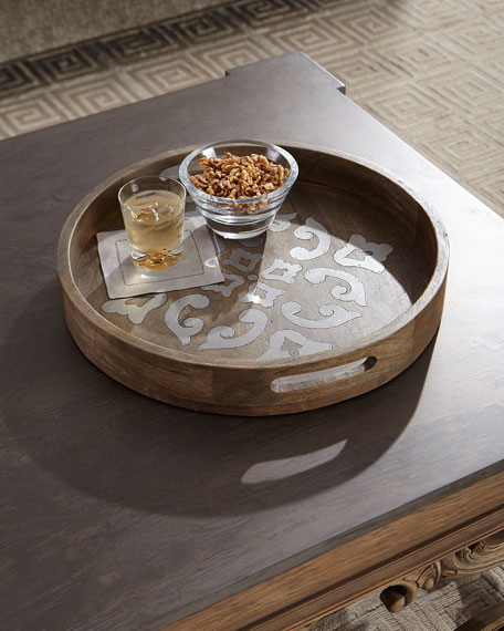 G G Collection Round Wood Tray w/ Metal