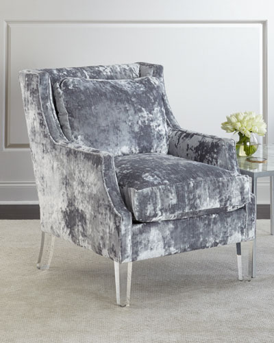Textural Velvet Scoop Arm Chair