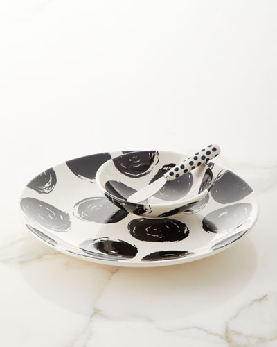 Brushed Dot Scoop Plate  Bowl and Spreader Set