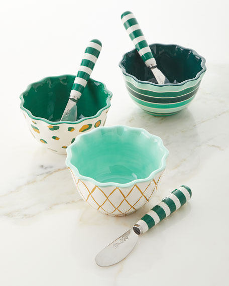 Coton Colors Emerald Series Ruffle Appetizer Bowls with