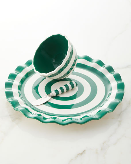 Emerald Spot On Platter with Bowl and Spreader